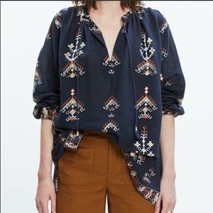 Madewell Folkstich Aztec Print Popover Tunic Top